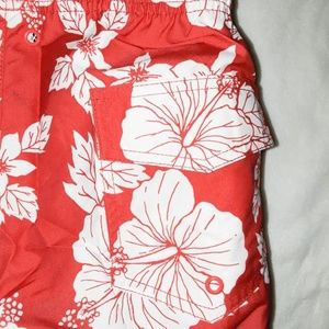 Wings Swim - Red & White Men's Wings Hibiscus Print Swim Trunks